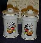 Disney Mickey and Minnie chef porcelain shakers in box
