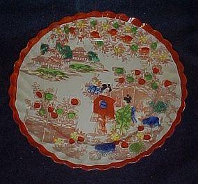 Old Geisha girl salad plate scalloped border rust trim