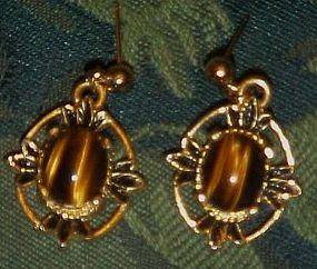 Pretty Tiger eye post earrings, antiqued gold tone