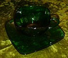 Anchor Hocking forest green charm cup and saucer