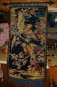 Vintage parrots tapestry with  iron hanger