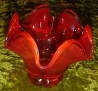 L.E. Smith Simplicity Amberina fluted bowl