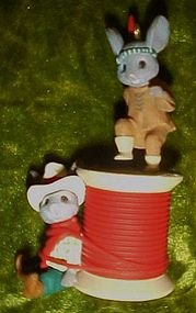 Enesco Kringle Cowboy and Indian mice ornament 1990