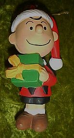 PeanutsCharlie Brown Santa with gift Christmas ornament