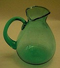 Teal green hand blown glass pitcher 5""