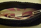 Liz Claiborne designer woven black purse leather handle