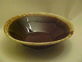 Large brown mirror drip serving bowl 8 3/4""