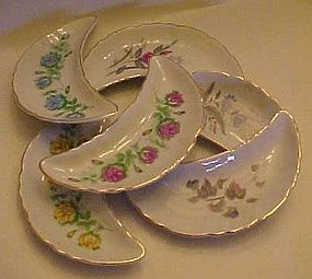 Set of 6 china bone dishes assorted flowers gold trim