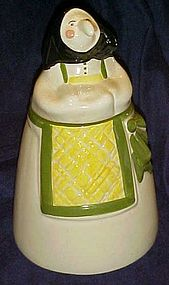 Vintage glazed ceramic Kitchen Witch cookie jar poppet