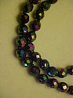 Beautiful vintage black irridized glass beads necklace