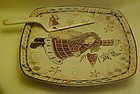 Country Angel square cake plate and server
