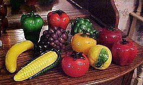 Hand blown assorted glass fruits and vegetables life size