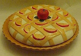 Hand painted ceramic apple pie keeper / saver