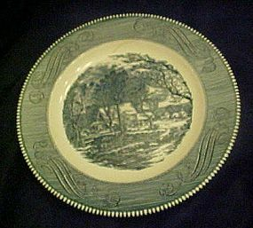 Blue and white currier and Ives dinner plate by Royal