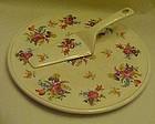 Vintage  Floral chintz cake plate and  dessert server