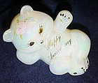 Fenton hand painted pearlescent happy anniversary bear