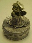 Pewter trinket box,  pray angel with April birthstone
