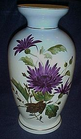 Vintage hand painted purple Mums vase