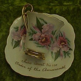 Order of the Amaranth orchid demi cup and saucer
