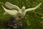 White doves lovebirds bisque wedding cake topper