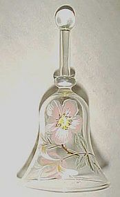 Hand blown miniature crystal bell with pink blossom