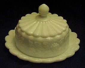 Westmoreland paneled grape milk glass  cheese dish