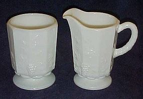 Westmoreland paneled grape  creamer & open sugar