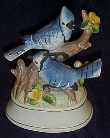 Porcelain Blue Jays musical bird figurine.