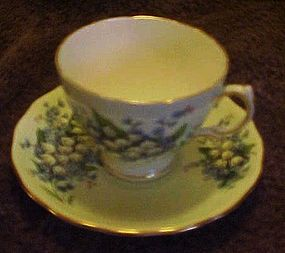 Colclough bone china  white bell flowers cup and saucer
