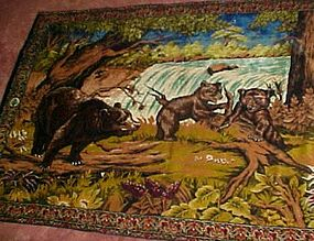 "Large vintage Tapestry Rug of wild bears 76"" x 49"""
