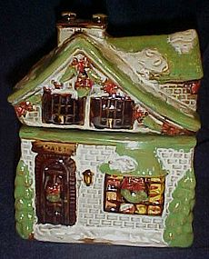 Heavy glazed stoneware Christmas cottage cookie jar