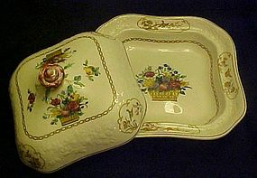 Antique Spode 2/7199 covered square vegetable dish