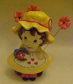 60's Josef Originals paper mache girl bobble flowers