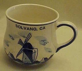 Souvenir blue delft mug from Solvang, CA.