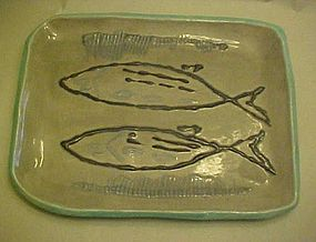 Hand made pottery fish platter