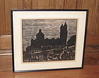 Carl Pappe Taxco Mexico Large Woodblock Print