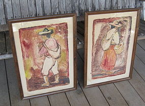 Carl Pappe Taxco Mexico Pair of Large Monotype Prints