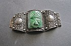 Stunning Huge Mexican Sterling Silver Stone Bracelet Taxco