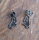 Whimsical Mexican Modernist Silver Signed Bird Earrings Taxco