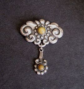 Danish Skonvirke Sterling Brooch Signed