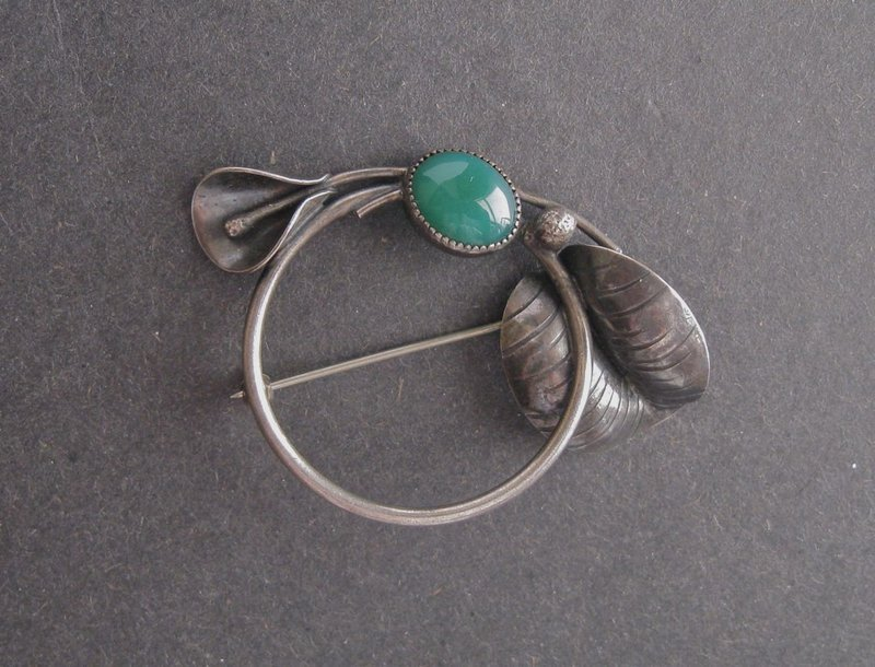 Vintage Signed Arts and Crafts Brooch Sterling Stone Masaniello JM