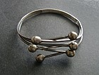Vintage Early Mexican Silver Bracelet Large Wrist