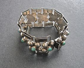 Vintage Mexico Silver Link Sphere Bracelet Davis Design