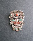 Vintage Matilde Poulat Matl Silver Brooch Turquoise Coral Mexican Pin