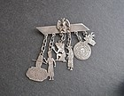 Vintage Mexican Silver Myers Brooch with Charms