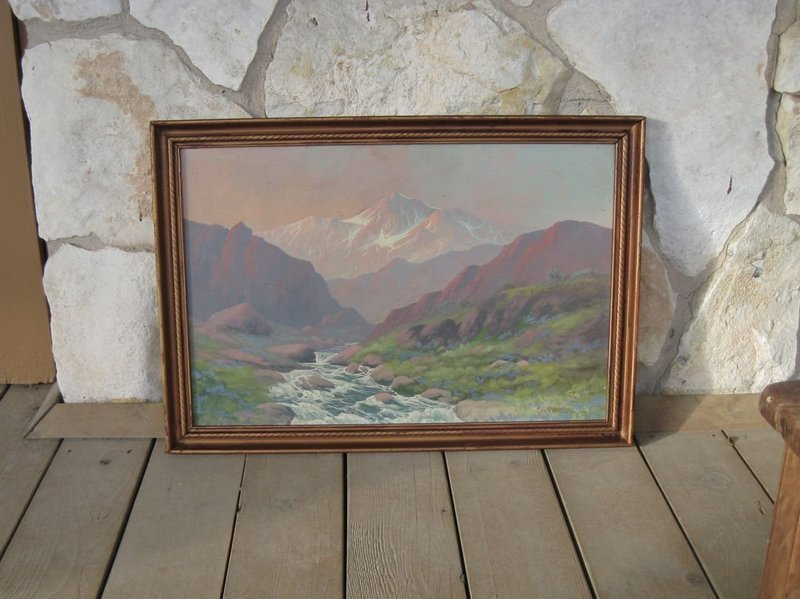 Fine Signed 1930's Mountain Landscape Painting