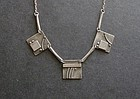 Vintage Modernist Silver Abstract Hand Made Necklace