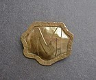 Vintage Frost Brass Acid Etched Brooch 1909 Signed Arts Crafts