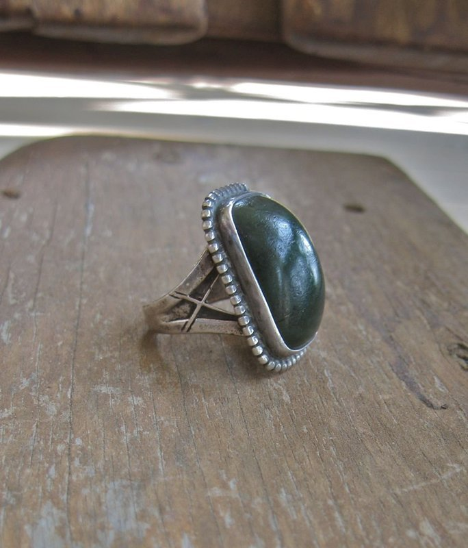 Vintage Hand Made Sterling Stone Ring O Aaroe