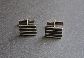Vintage Modernist Idella La Vista Cuff Links Sterling